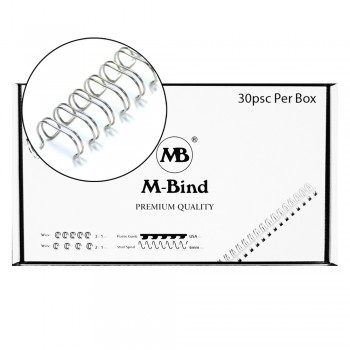 """M-Bind Double Wire Bind 2:1 A4 - 1-1/2""""(38mm) X 23 Loops, 30pcs/box, Silver"""
